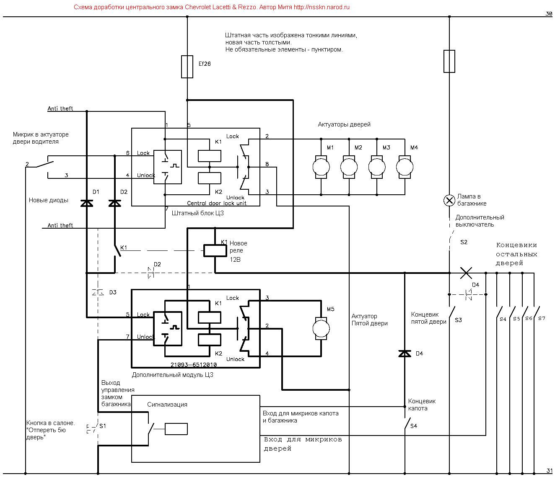 схема замка задней двери ваз 21093